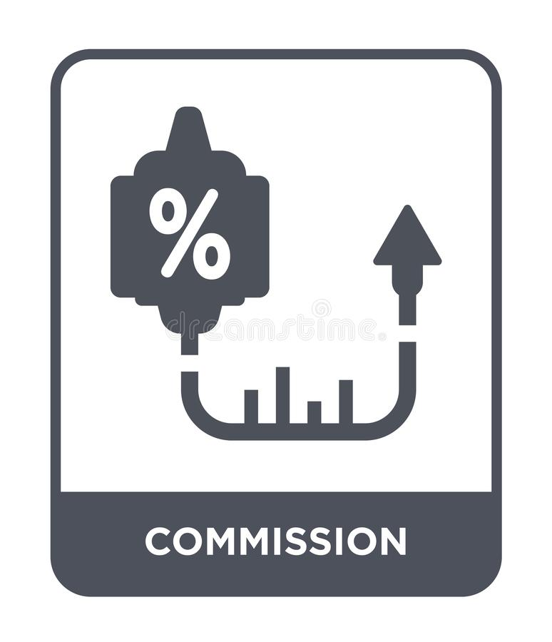 icono de la comisión en estilo de moda del diseño icono de la comisión aislado en el fondo blanco icono del vector de la comisión stock de ilustración