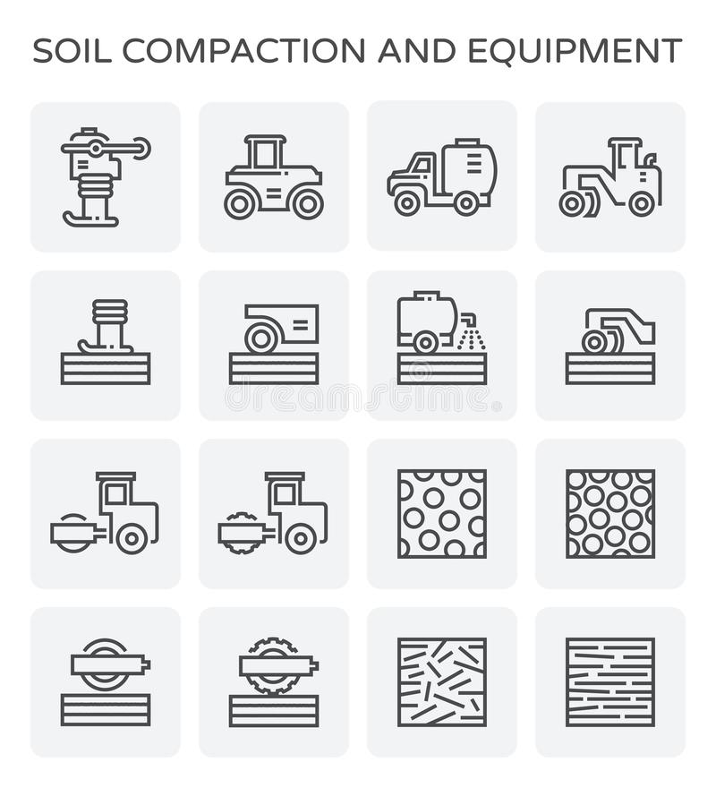 Icono de la compactación de suelo stock de ilustración