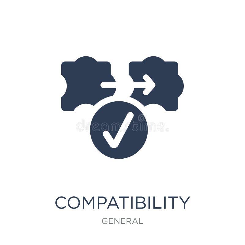 icono de la compatibilidad Icono plano de moda de la compatibilidad del vector en whi libre illustration