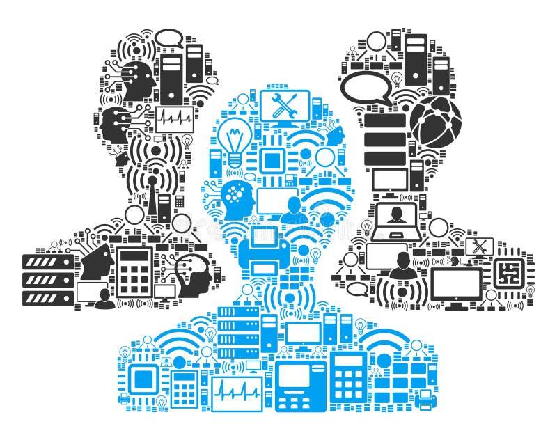Icono de la composición de los usuarios para BigData y computar stock de ilustración