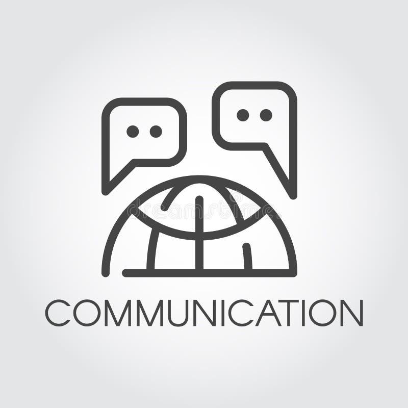 Icono de la comunicación Etiqueta internacional del concepto de la comunicación global Burbujas de la charla y pictograma del con ilustración del vector