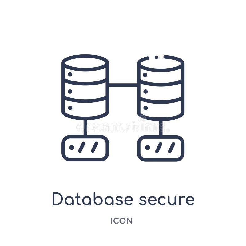 icono de la conexión segura de la base de datos de la colección del esquema de la tecnología Línea fina icono de la conexión segu stock de ilustración