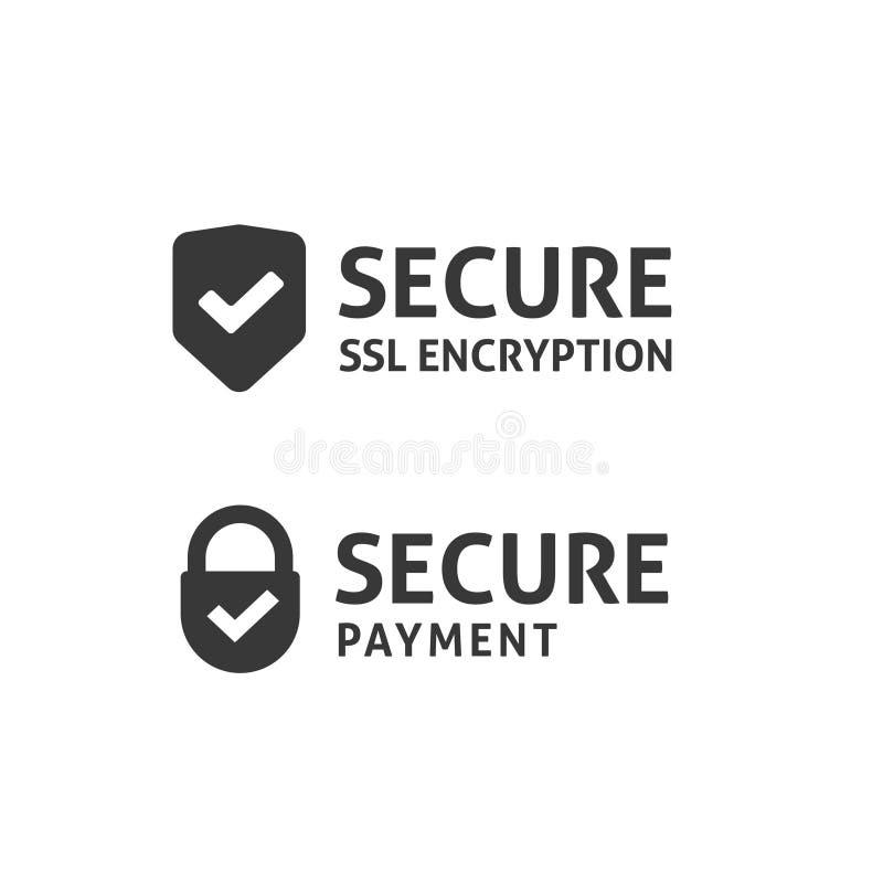 Icono de la conexión segura, escudo asegurado del SSL, pago protegido, datos seguros stock de ilustración