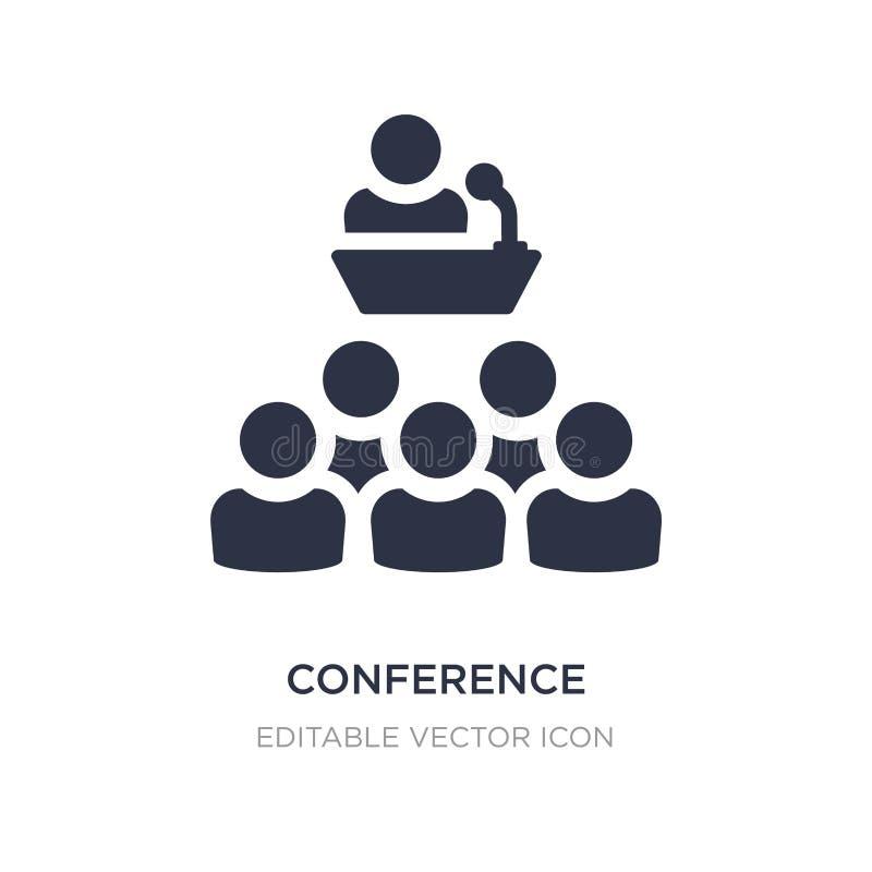 icono de la conferencia en el fondo blanco Ejemplo simple del elemento del concepto de comercialización de los medios sociales ilustración del vector