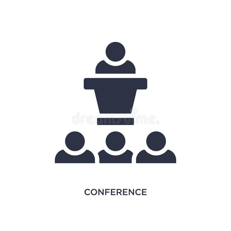 icono de la conferencia en el fondo blanco Ejemplo simple del elemento del concepto de la estrategia ilustración del vector