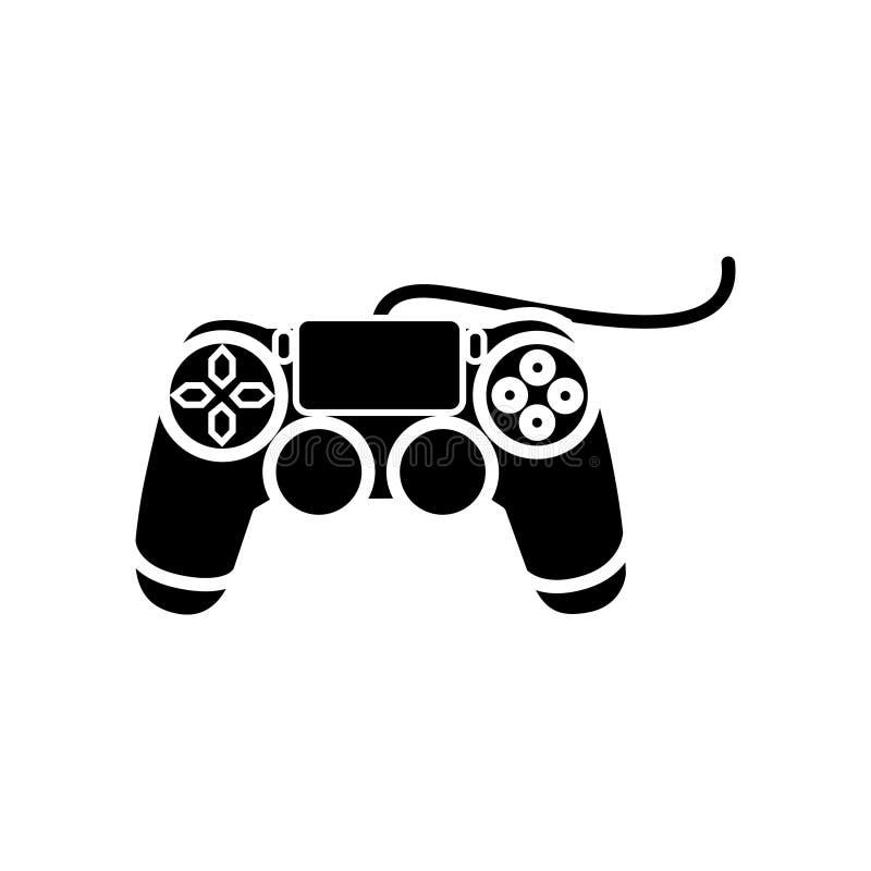 Icono de la consola de la palanca de mando, ejemplo del vector, muestra negra en fondo aislado ilustración del vector