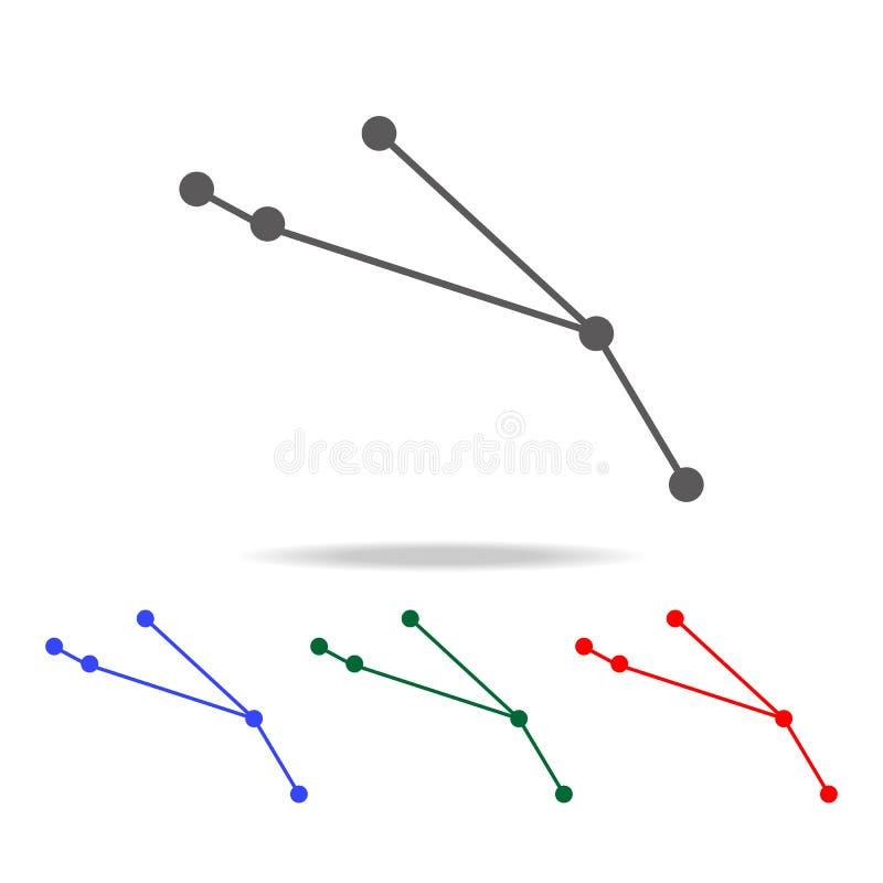 Icono de la constelación del aries de la muestra del zodiaco Elementos en los iconos coloreados multi para los apps móviles del c stock de ilustración