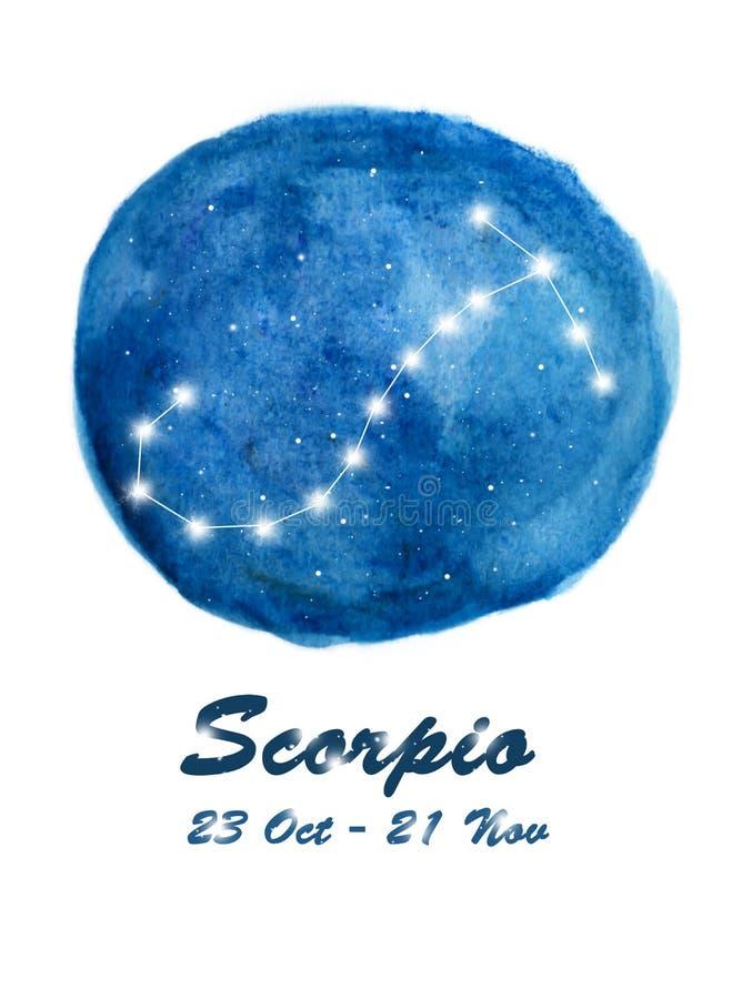 Icono de la constelación del escorpión del escorpión de la muestra del zodiaco en espacio cósmico de las estrellas Cielo nocturno stock de ilustración