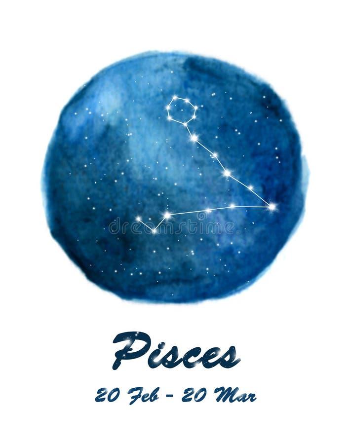 Icono de la constelación de Piscis de la muestra Piscis del zodiaco en espacio cósmico de las estrellas Cielo nocturno estrellado stock de ilustración
