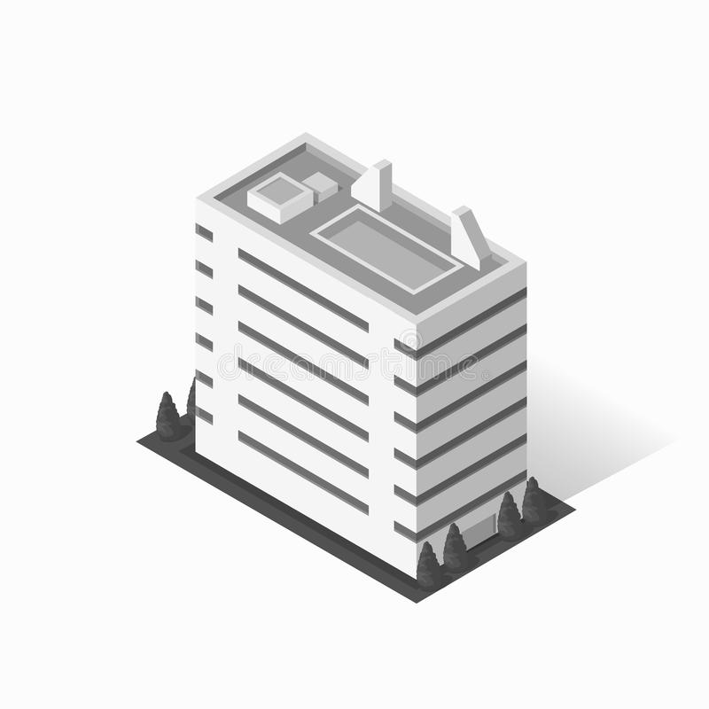 Icono de la construcción de viviendas de los rascacielos ilustración del vector