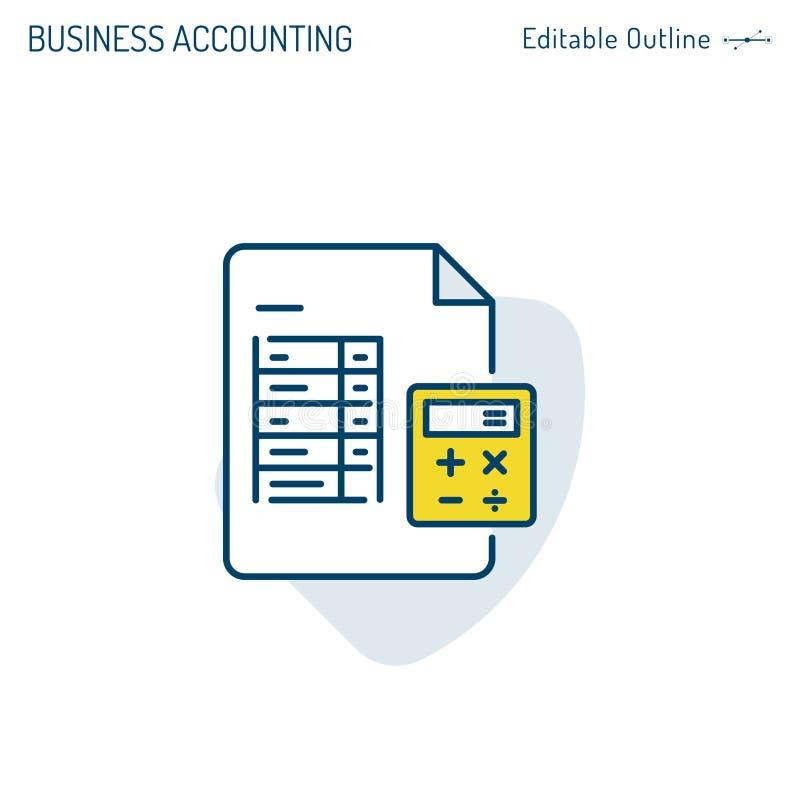Icono de la contabilidad, icono de la hoja de cálculo, ingresos, actividades bancarias, calculadora, figuras de rendimiento empre stock de ilustración