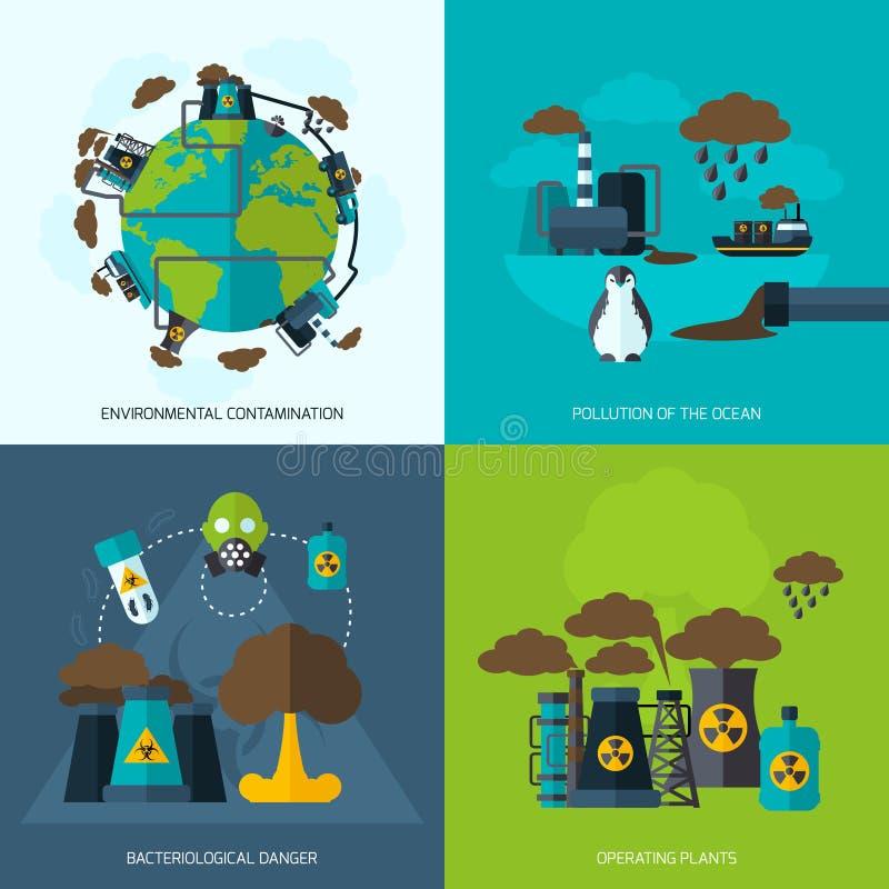Icono de la contaminación plano ilustración del vector