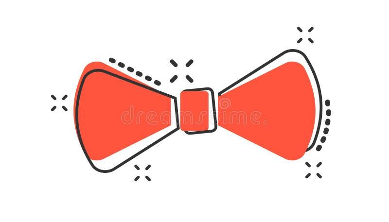Icono de la corbata de lazo de la historieta del vector en estilo cómico Illustr de la muestra de la corbata stock de ilustración