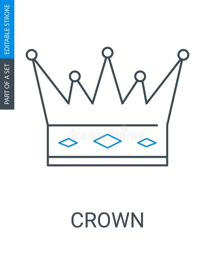 Icono de la corona en el fondo blanco Símbolo del rey o de la reina ilustración del vector