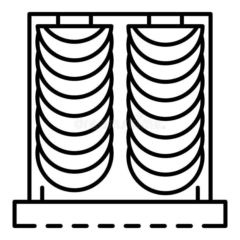 Icono de la cortina del terciopelo, estilo del esquema ilustración del vector