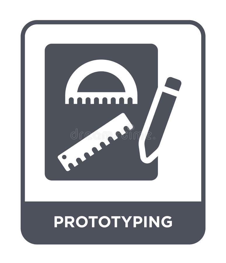 icono de la creación de un prototipo en estilo de moda del diseño icono de la creación de un prototipo aislado en el fondo blanco stock de ilustración