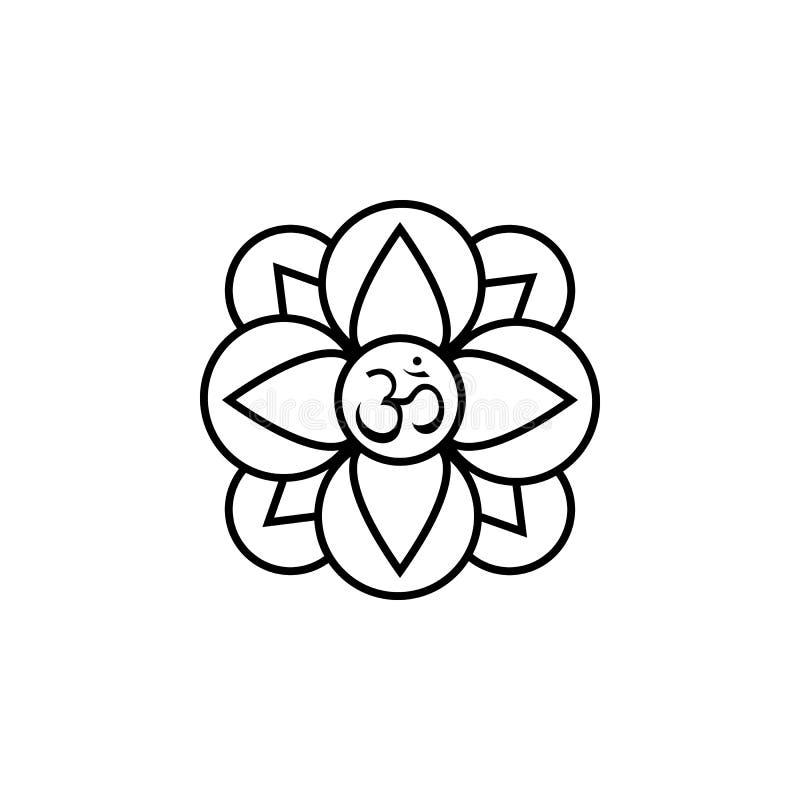 Icono de la creencia de la religión del hinduism de la planta de la flor de Diwali en el fondo blanco Elementos hindúes del festi stock de ilustración