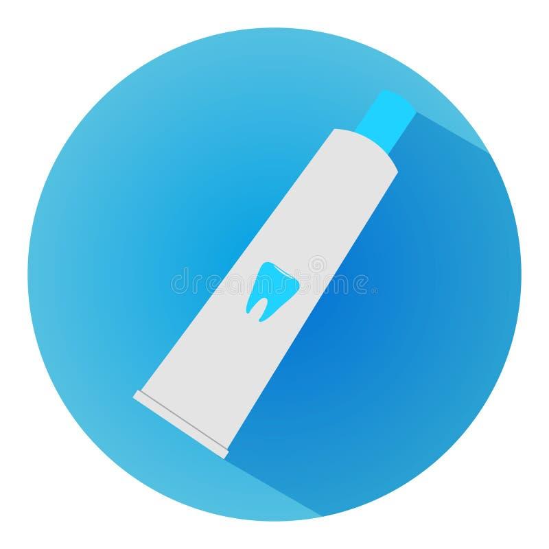 Icono de la crema dental, ilustrado en un diseño plano del estilo de ejemplo del vector Icono moderno de la odontología Sitio web fotos de archivo libres de regalías