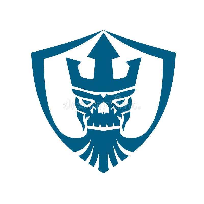 Icono de la cresta de la corona de Trident del cráneo de Neptuno ilustración del vector