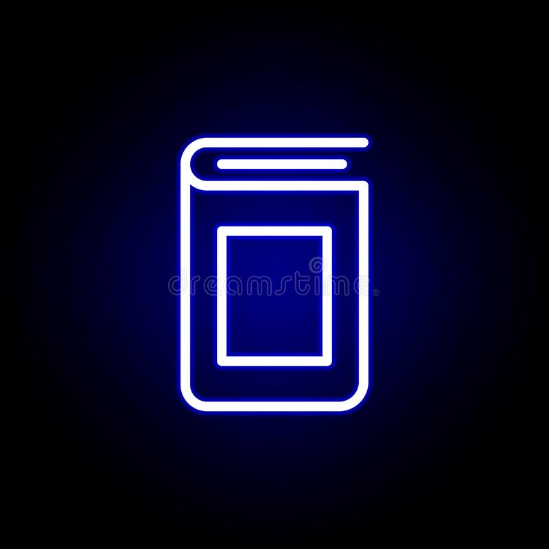Icono de la cubierta de libro en el estilo de neón Puede ser utilizado para la web, logotipo, app m?vil, UI, UX ilustración del vector