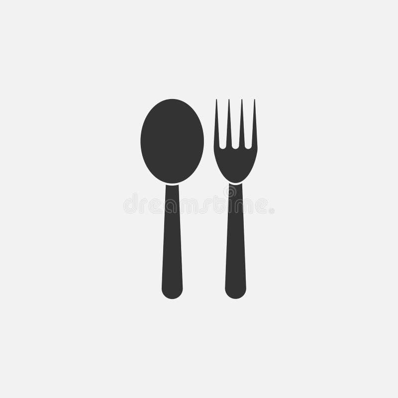 Icono de la cuchara y de la bifurcación, utensilio, comida libre illustration