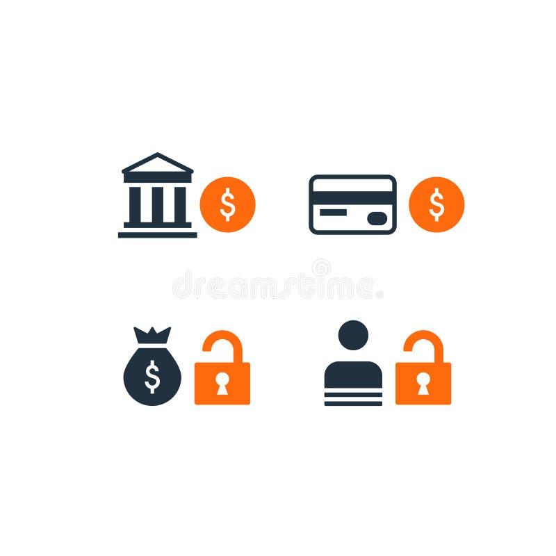 icono de la cuenta bancaria de ahorros de la seguridad, transacción del dinero de la prevención de fraude stock de ilustración