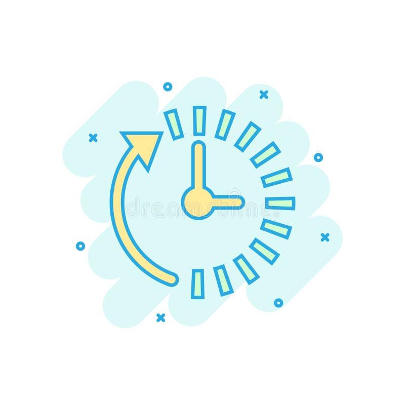 Icono de la cuenta descendiente del reloj en estilo cómico Pictograma del ejemplo de la historieta del vector del cronómetro del  libre illustration
