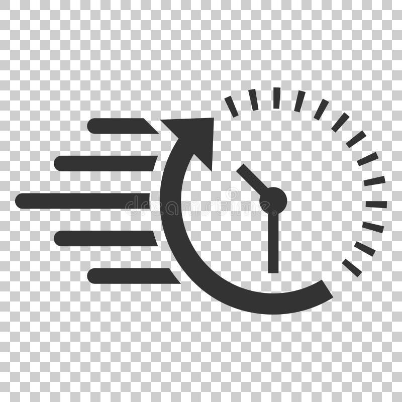 Icono de la cuenta descendiente del reloj en estilo plano Illu del vector del cronómetro del tiempo stock de ilustración