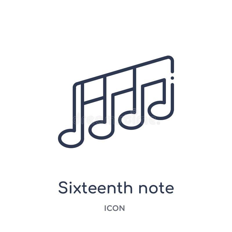 Icono de la décimosexta nota de la música y de la colección del esquema de los medios Línea fina décimosexta icono de la not ilustración del vector