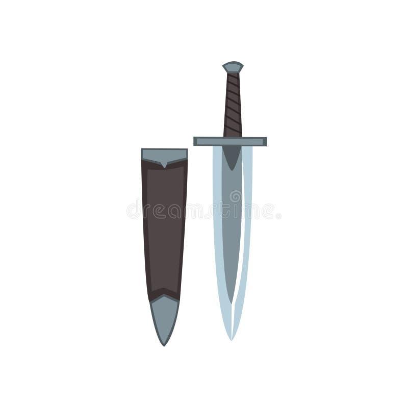 Icono de la daga georgiana con el caso Arma de puñalada Espada corta Cuchillo de acero con la manija negra y la cuchilla aguda br stock de ilustración