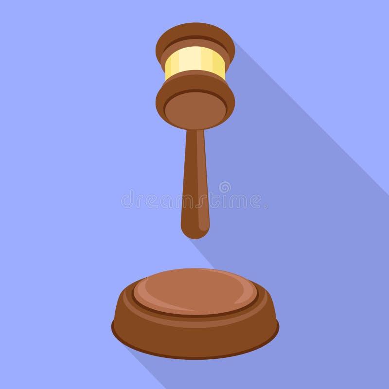 Icono de la decisión del martillo del juez, estilo plano libre illustration