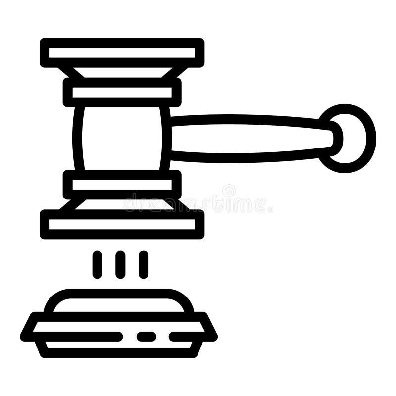 Icono de la decisión del mazo del juez, estilo del esquema stock de ilustración