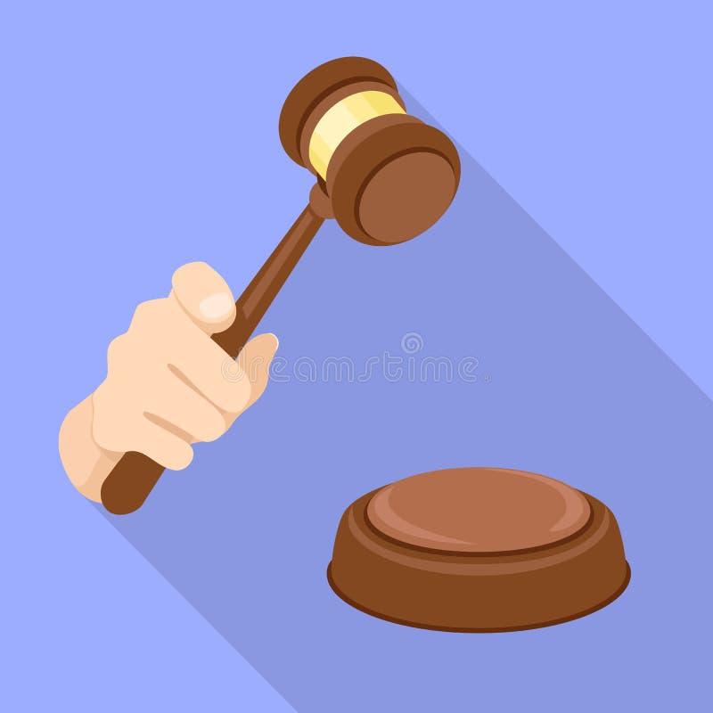 Icono de la decisión del mazo del juez, estilo plano ilustración del vector