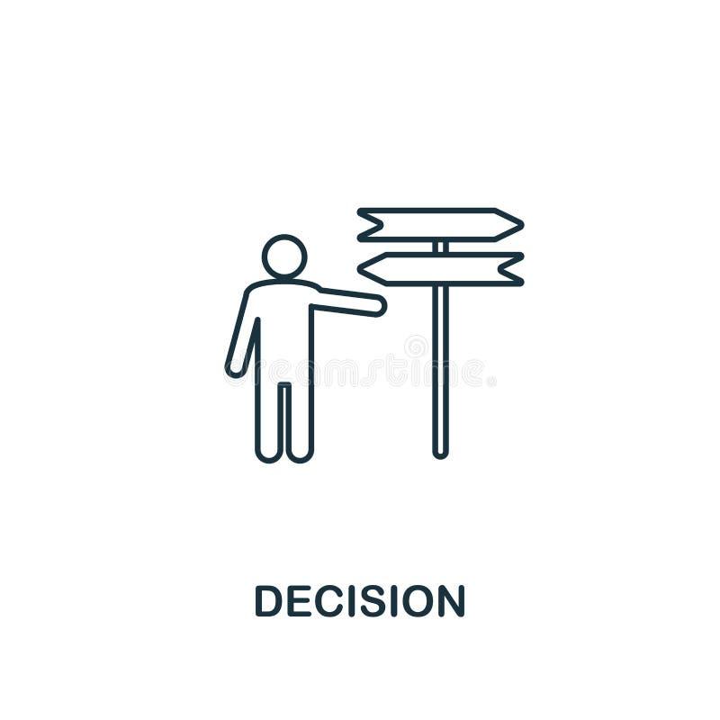 Icono de la decisión Línea fina símbolo del diseño de la colección de los iconos de la ética empresarial Icono perfecto para el d stock de ilustración