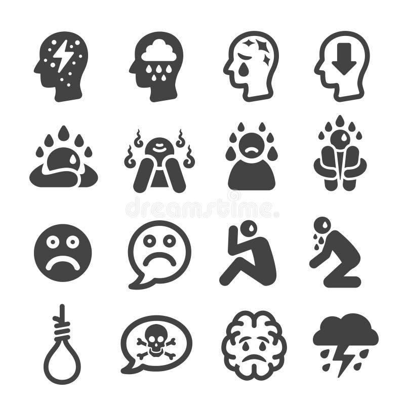 Icono de la depresión ilustración del vector