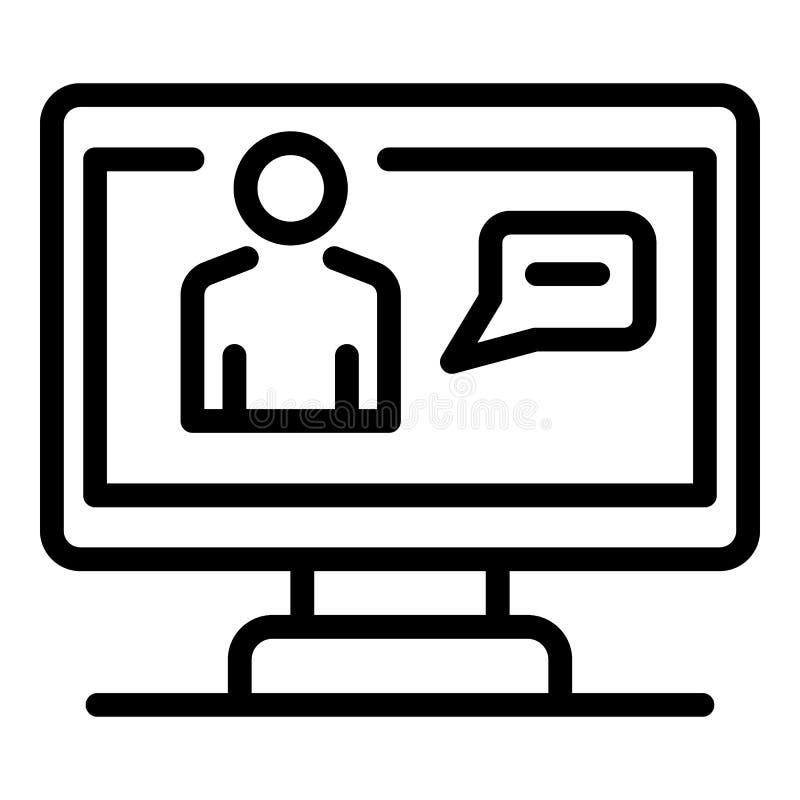 Icono de la difusión de la pantalla, estilo del esquema stock de ilustración