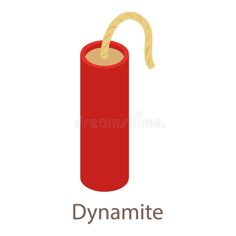 Icono de la dinamita, estilo isométrico 3d stock de ilustración
