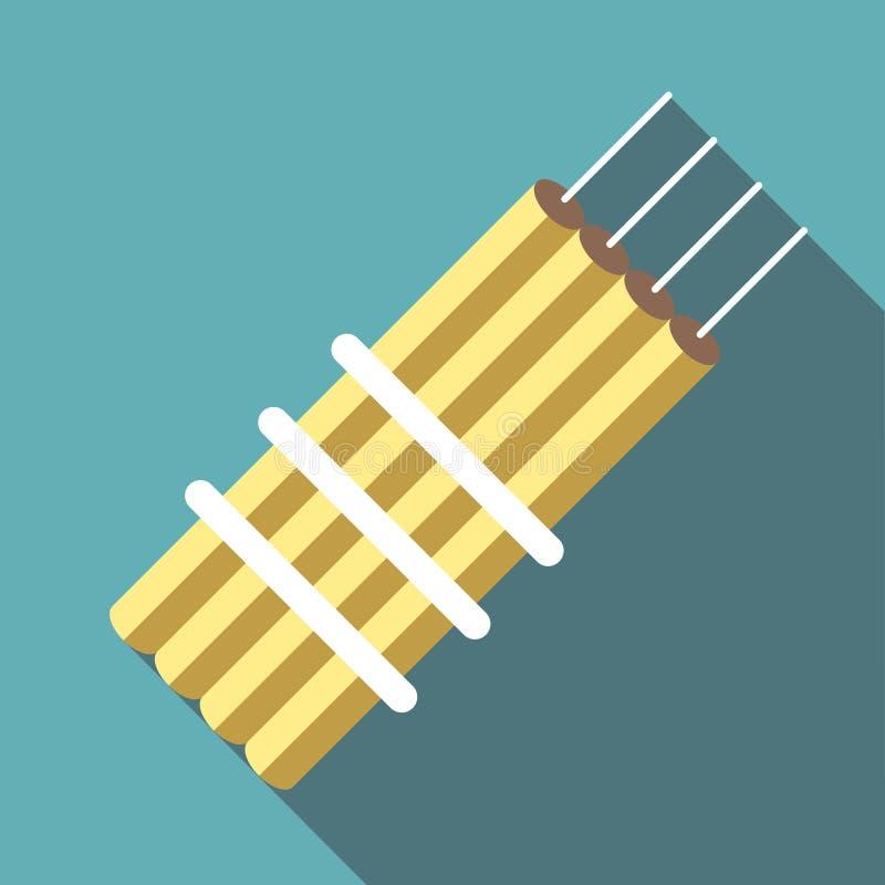 Icono de la dinamita, estilo plano stock de ilustración
