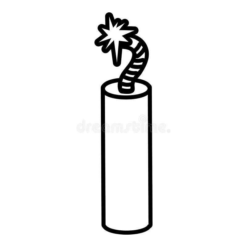 Icono de la dinamita de la mina, estilo del esquema libre illustration
