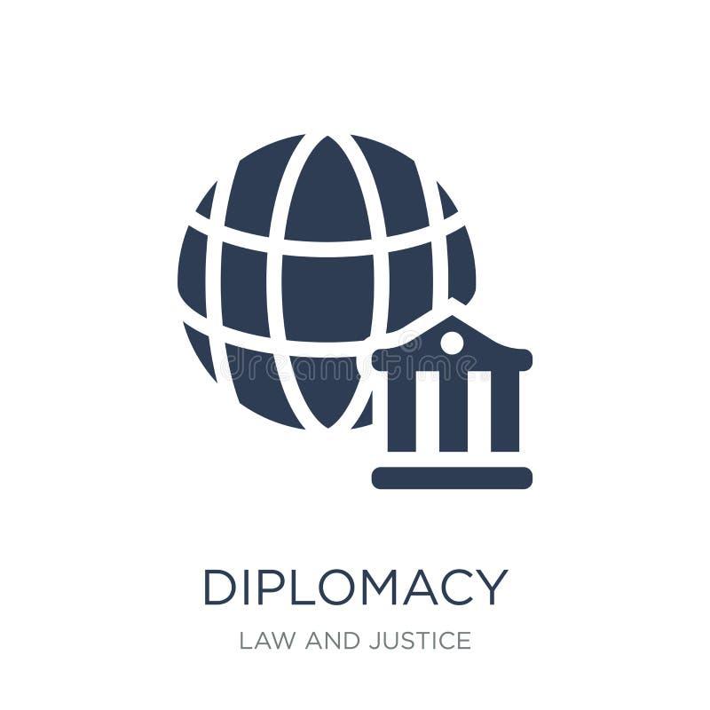 icono de la diplomacia Icono plano de moda de la diplomacia del vector en el backg blanco stock de ilustración