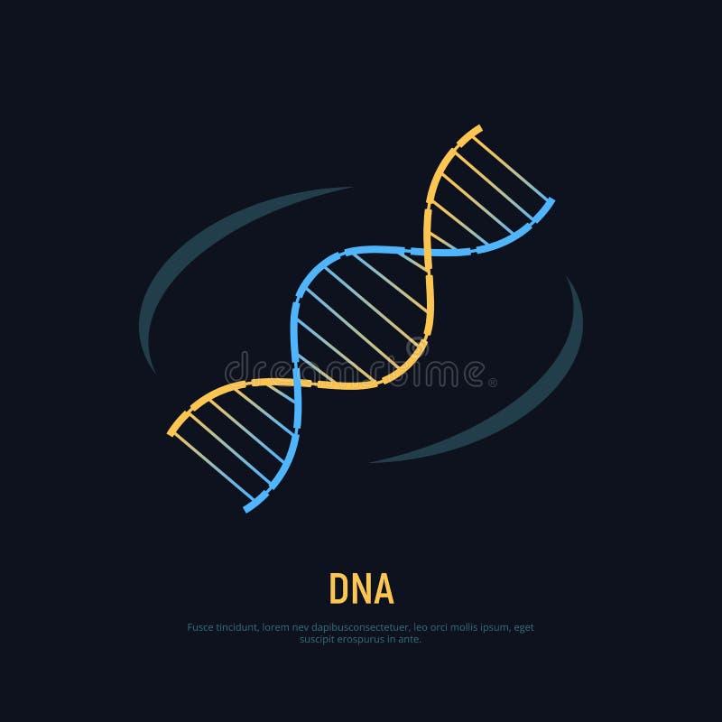 Icono de la DNA Símbolo del concepto de la bioquímica y de la nanotecnología ilustración del vector