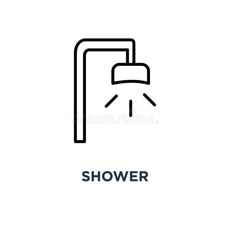 Icono de la ducha Ejemplo simple linear del elemento Estafa de los Showerheads libre illustration
