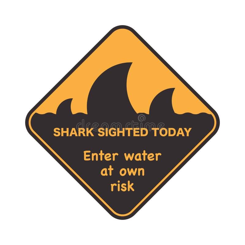 Icono de la eñal de peligro con una aleta del tiburón stock de ilustración