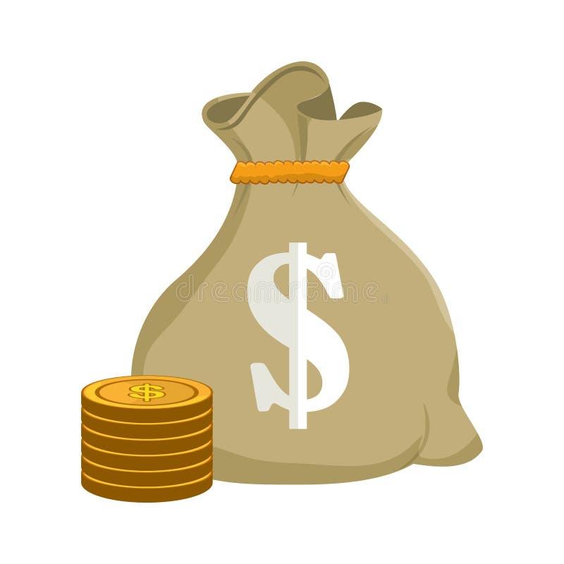 Icono de la economía del bolso del dinero stock de ilustración