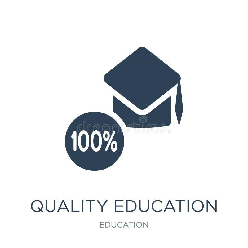 icono de la educación de la calidad en estilo de moda del diseño icono de la educación de la calidad aislado en el fondo blanco i ilustración del vector