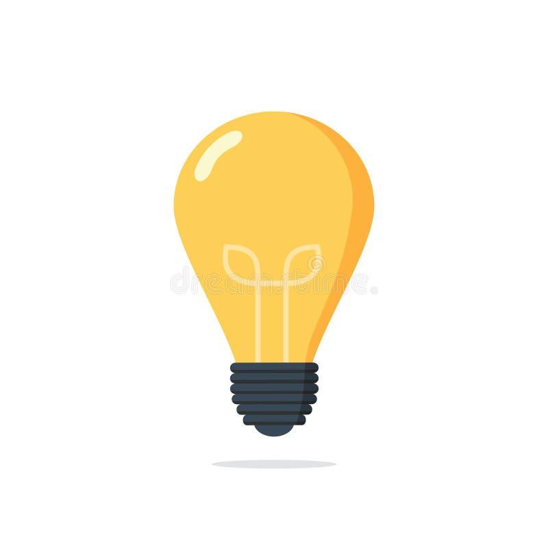 Icono de la educación de la luz de bulbo Icono de la lámpara en el fondo blanco Ilustración del vector Muestra de la idea, soluci ilustración del vector