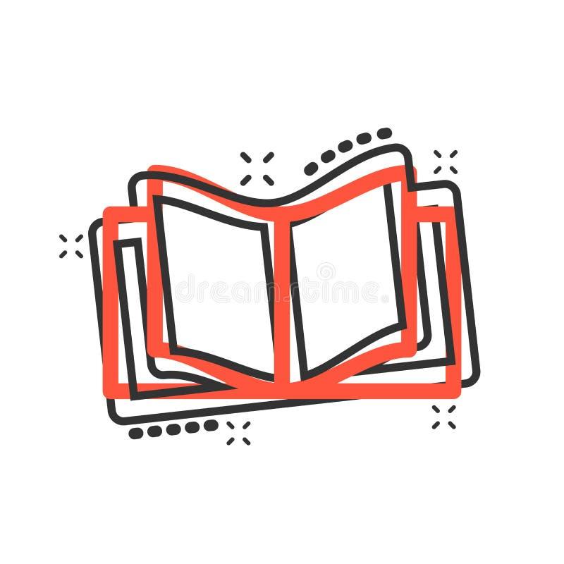 Icono de la educación del libro en estilo cómico Pictograma del ejemplo de la historieta del vector de la revista de la literatur ilustración del vector