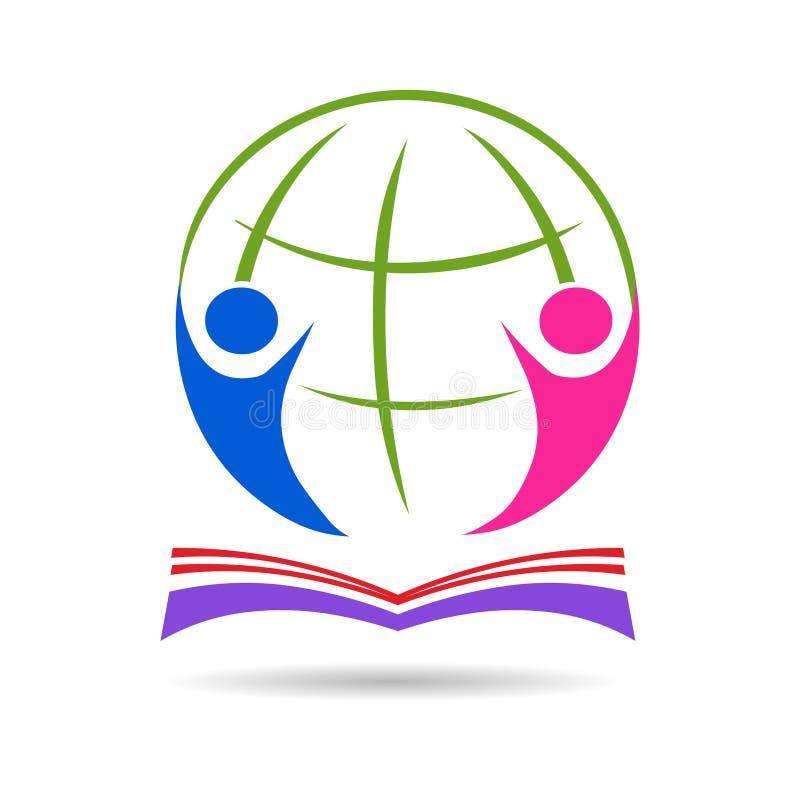 Icono de la educación Ejemplo del vector del libro y del globo ilustración del vector