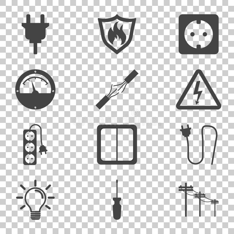 Icono de la electricidad Ejemplo del vector en estilo plano en aislado stock de ilustración