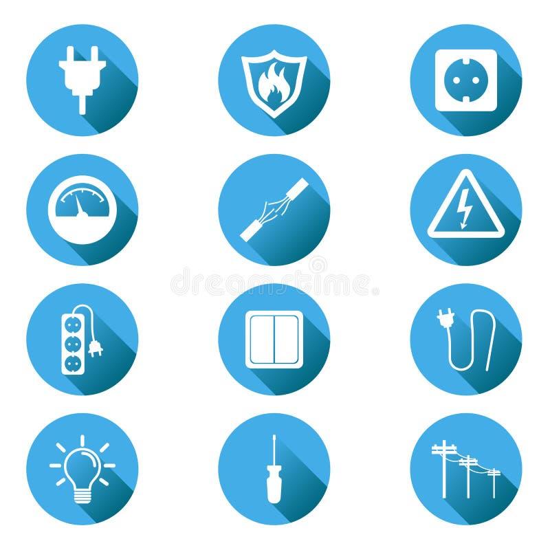 Icono de la electricidad Vector el ejemplo en estilo plano en circ azul stock de ilustración